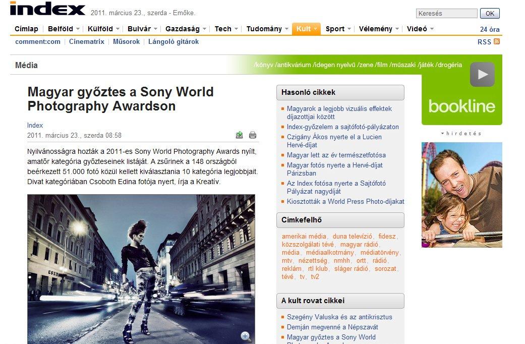 Díj - Sony World Photography Awards - 2011 - Fashion - Punk City - I. helyezés - Index cikk