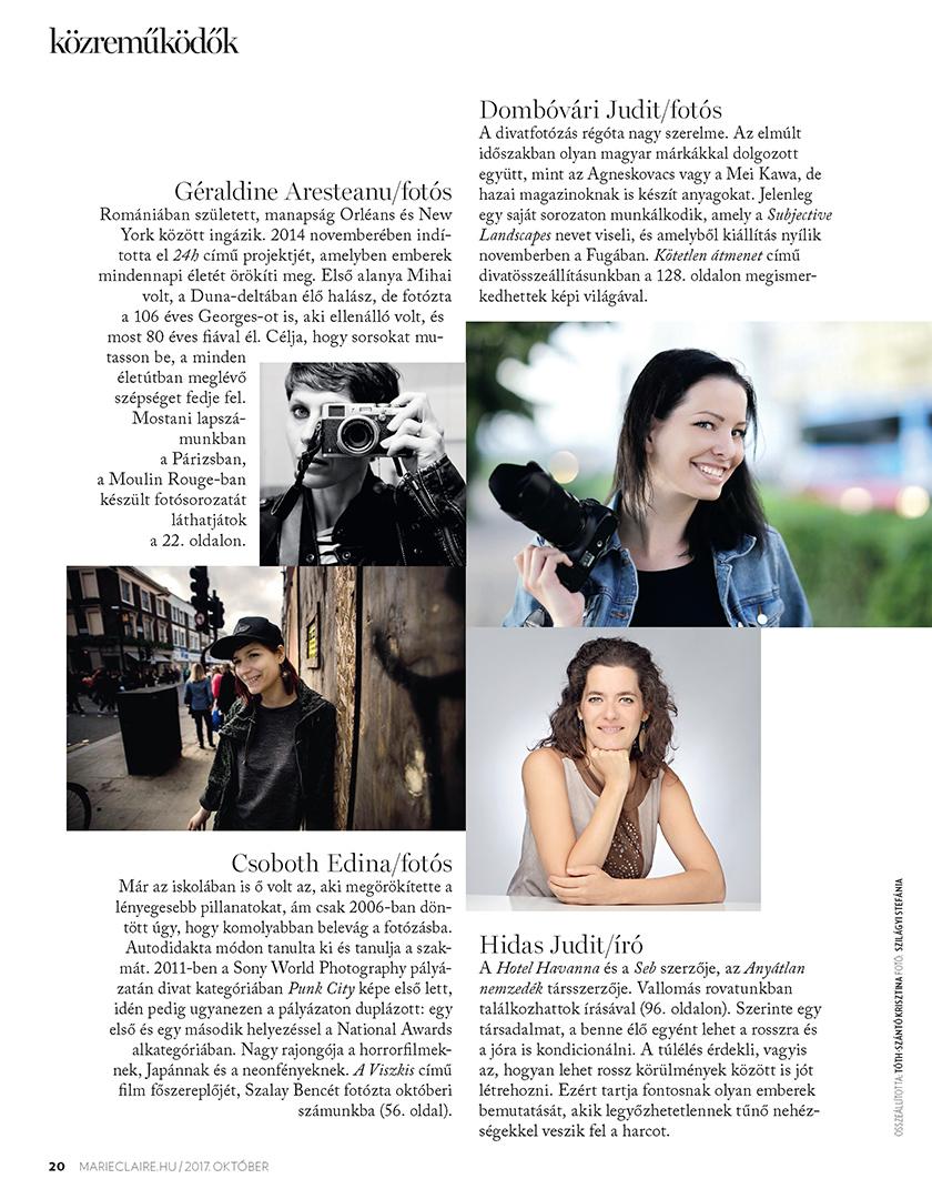Publikáció - Marie Claire - 2017 - Szalay Bence - Közreműködők