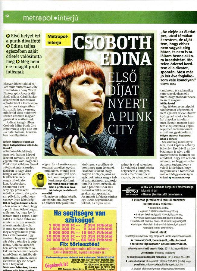 Publikáció - Metropol - 2011 - Punk City - Interjú - 01